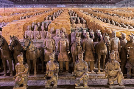 The world famous Terracotta Army, part of the Mausoleum of the First Qin Emperor and a UNESCO World Heritage Site located in Xian China Reklamní fotografie - 81526225