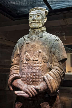 One of eight generals unearthed of the world famous Terracotta Army, part of the Mausoleum of the First Qin Emperor and a UNESCO World Heritage Site located in Xian China Redakční