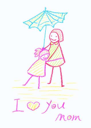 Kinderzeichenstiftzeichnung einer Karte der Mutter Tagesmit einem weißen Hintergrund- und Kopienraum