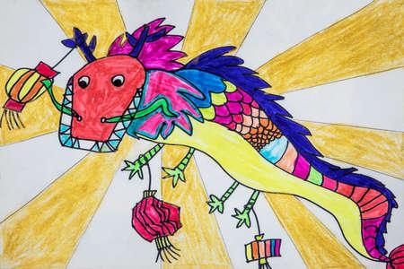 中国のドラゴンフェスティバルで使用されるドラゴンの子供の絵 写真素材