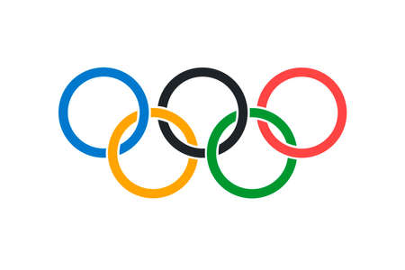 Een illustratie van de officiële Olympische vlag in zowel kleur als verhoudingen