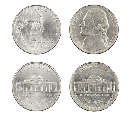 Obverse and reverse sides of the Old and New American Nickels isolated on a white background