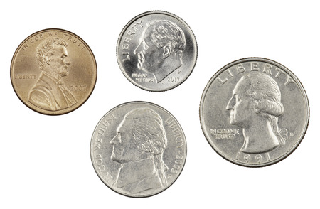 The four most commonly used American Coins. A quarter, dime, nickle, and penny isolated on a white background Stock fotó