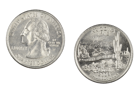 Obverse and reverse sides of the Arizona 2008p State Commemorative Quarter isolated on a white background