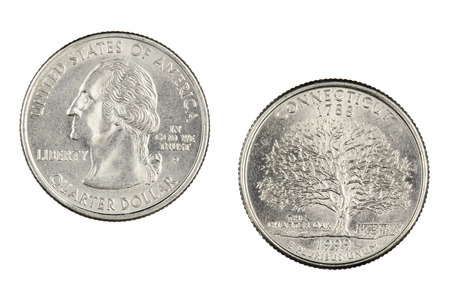Obverse and reverse sides of the Connecticut 1999p State Commemorative Quarter isolated on a white background