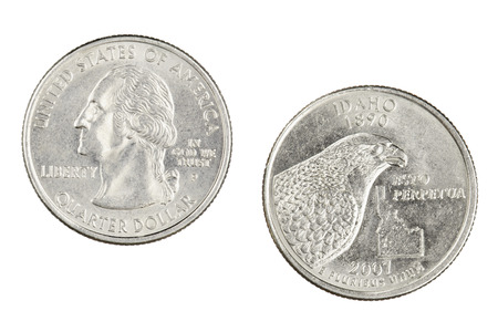 Obverse and reverse sides of the Idaho 2007p State Commemorative Quarter isolated on a white background Stock Photo