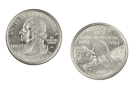 Obverse and reverse sides of the Missouri  2003d State Commemorative Quarter isolated on a white background
