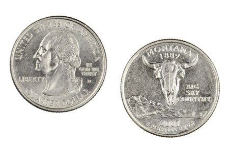 Obverse and reverse sides of the Montana 2007d State Commemorative Quarter isolated on a white background