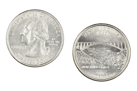 Obverse and reverse sides of the West Virginia 2005p State Commemorative Quarter isolated on a white background
