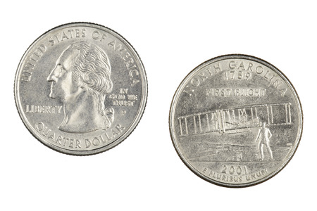 Obverse and reverse sides of the North Carolina 2001p State Commemorative Quarter isolated on a white background