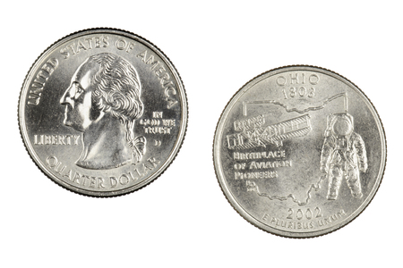 Obverse and reverse sides of the Ohio 2002d State Commemorative Quarter isolated on a white background