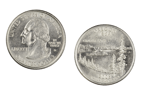 Obverse and reverse sides of the Oregon 2005d State Commemorative Quarter isolated on a white background