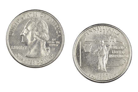 Obverse and reverse sides of the Pennsylvania 1999p State Commemorative Quarter isolated on a white background