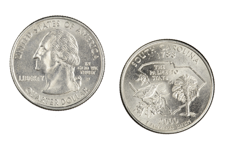 Obverse and reverse sides of the South Carolina 2000p State Commemorative Quarter isolated on a white background
