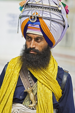 New Delhi, India, September 2, 2019 Portrait of Sika Hindu religious man at the Bangla Shib Gurudwara Sika Great Temple in New Delhi India