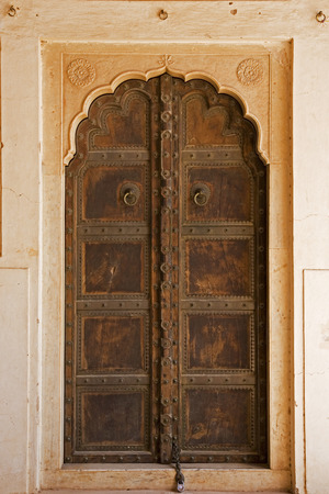 Detail of the architecture of the The Amber Fort temple in Rajasthan Jaipur India 스톡 콘텐츠