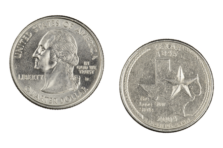 Obverse and reverse sides of the Texas 2004d  State Commemorative Quarter isolated on a white background 版權商用圖片