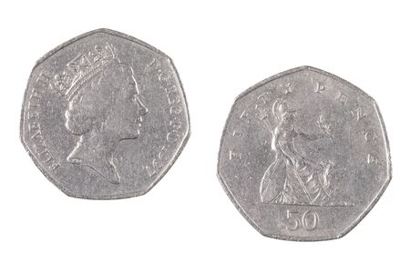 Close up of a British 50 Pence Coins isolated on a white background Reklamní fotografie