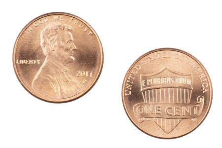 Front and back of an American penny isolated on a white background