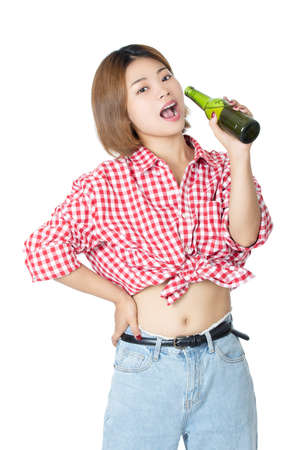 Beaufiful Chinese American woman holding a bottle of beer isolated on white background