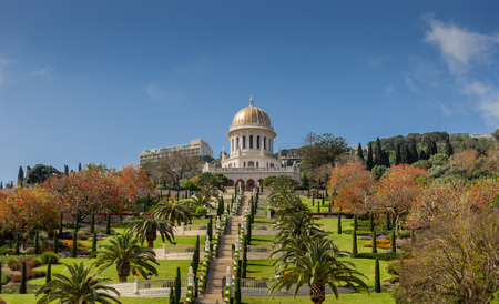 baha: Bahai gardens and temple in Haifa, Israel Stock Photo