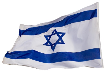 Israel flag flapping in the wind. the flag is isolated on a white background.