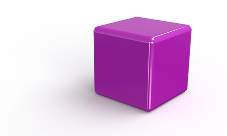 3D vector model of a pink purple Cube. isolated on white. The cube has a shadow.