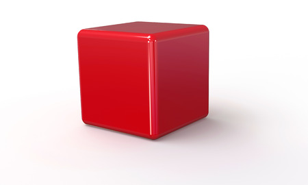 red square: 3D vector model of a red Cube. isolated on white. The cube has a shadow.