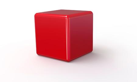 red cube: Modello vettoriale 3D di un cubo rosso. isolato su bianco. Il cubo ha un'ombra. Vettoriali