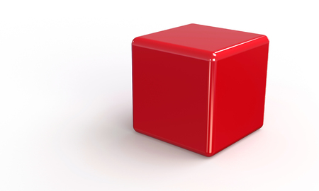 3D vector model of a Cube. isolated on white. The cube has a shadow. Vector