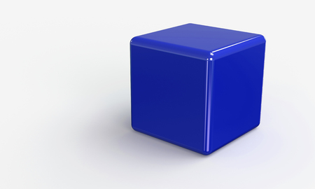 3D vector model of a blue Cube. isolated on white. The cube has a shadow.