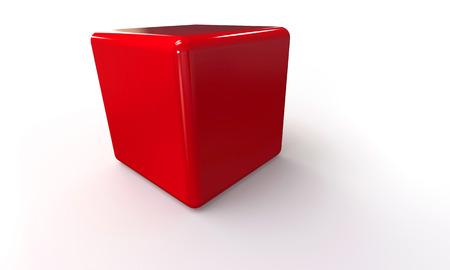 red cube: Modello vettoriale 3D di un cubo rosso isolato su bianco. Il cubo ha un'ombra.