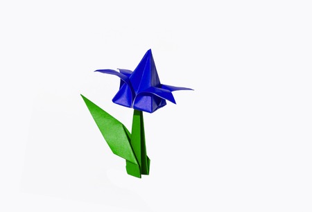 green it: Origami tulip flower.  The tulip is isolated on white background and casts shadow on the surface. It has closed or open petals and a green stalk.