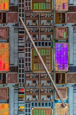 silicon: Oblea de silicio con el circuito electrónico impreso en comparación con una aguja Foto de archivo