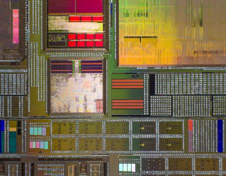 silicio: Oblea de silicio con un circuito electr�nico impreso