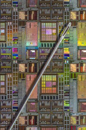 silicio: Oblea de silicio con el circuito electrónico impreso en comparación con una aguja Foto de archivo