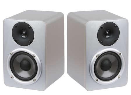 estudio de grabacion: Imagen de dos altavoces monitor de estudio profesional sobre fondo blanco.