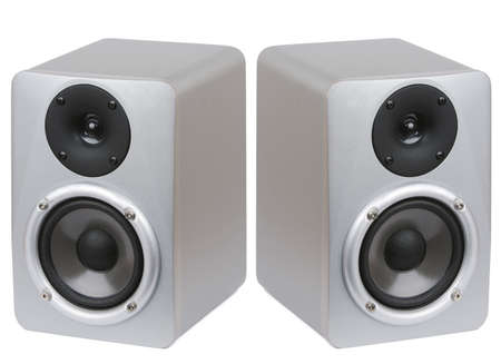 recording studio: Picture of two professional studio monitor speakers on white background.