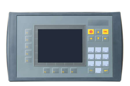 plc: Grey industrial PLC with built-in operator panel used for process control with buttons and touchscreen isolated on white background.