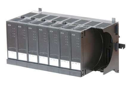 plc: Industrial InputOutput modules in rack, used in process automation. Isolated on white.