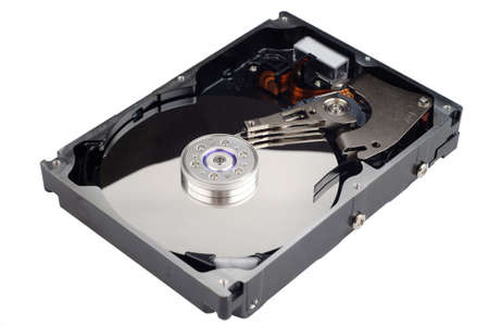 harddrive: Picture of opened computer harddrive isolated on white background.