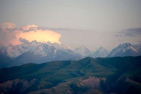 Summer landscape of mountains at sunset sunlight