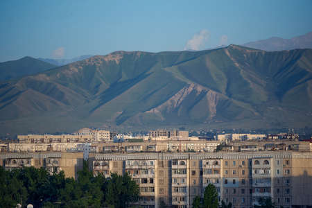 Bishkek city and mountains in the morning
