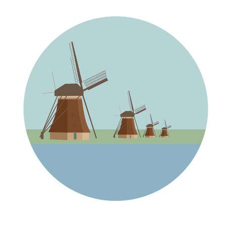 Beautiful image of dutch windmills at Kinderdijk in Netherlands. Vector