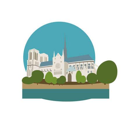 De kathedraal van Notre Dame de Paris, Frankrijk. vector illustratie Stock Illustratie