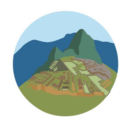 Machu Picchu, Peru Historische Sanctuary. vector illustratie Stock Illustratie