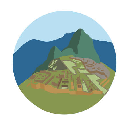 Machu Picchu, Peruvian Historical Sanctuary. Vector illustration