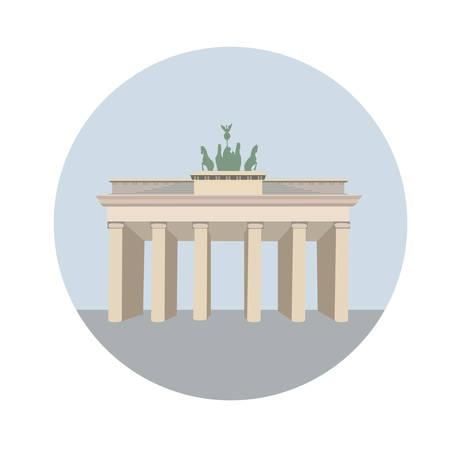 Brandenburg gate. Architecture monument in Berlin. Vector illustration