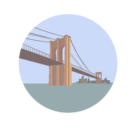 Brooklyn Bridge over East River. Lower Manhattan. Vector illustration