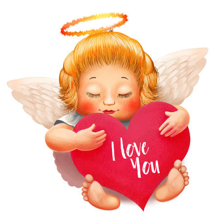 Angel with nimbus, white wings and closed eyes. Big heart with text I love you in hand. Valentines day character. Realistic postcard decoration toddler. Digital art illustration
